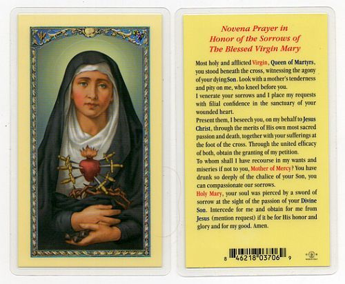 Novena Prayer in Honor of the Sorrows of The Blessed Virgin Mary Holy Card