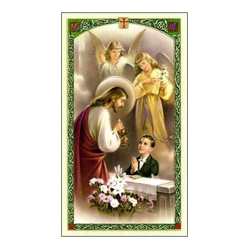 Spanish First Communion Holy Card for Boy